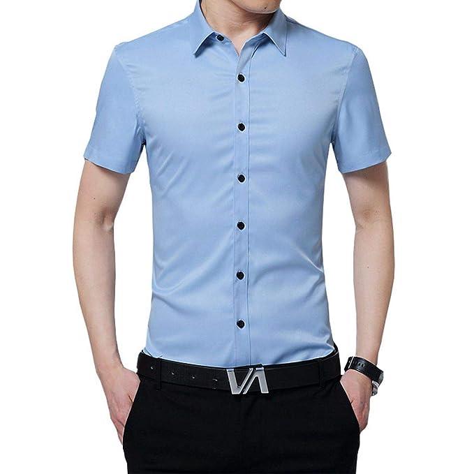 c36b7604 Camisa Manga Corta Camisetas de Trabajo para Hombres con Botones, Shirt  Ajustada para Verano, Slim Fit, Regular Fit y Casual: Amazon.es: Ropa y  accesorios