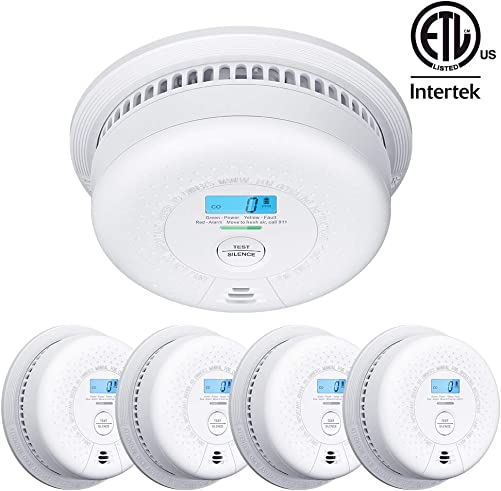 X-Sense SC01 10 Year Battery Not Hardwired Smoke and Carbon Monoxide Detector with Display, Dual Sensor Smoke CO Alarm Complies with UL 217 UL 2034 Standards, Auto-Check, 5-Pack