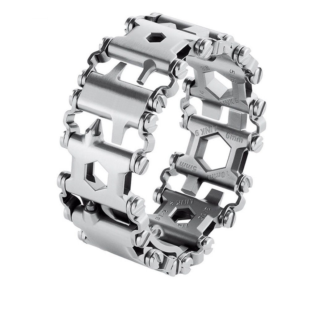 Tread Bracelet, Outdoor Multifunction Bracelet Wristband,Smaller Travel Friendly Wearable Multitool,Stainless Steel