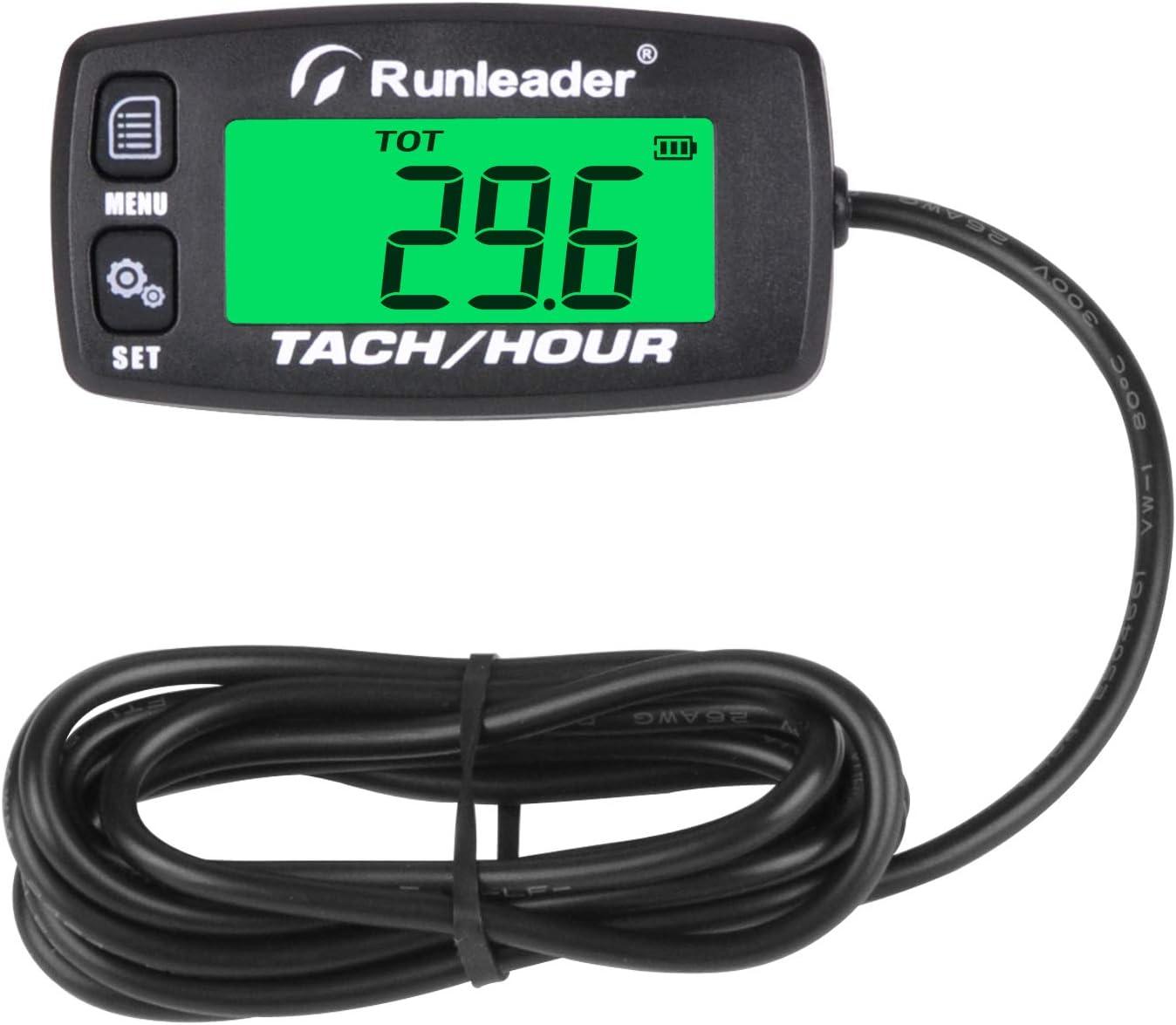 Runleader Compteur horaire moteur num/érique,tachym/ètre de rappel de maintenance pour tondeuse /à gazon autoport/ée G/én/érateur Moto Compresseur de motoneige et /équipement /à essence Button-BK