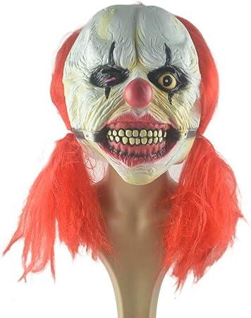 SMQ De Halloween Peluca de Terror Peluca máscara de Payaso máscara / látex Cara Larga de Terror máscara roja repugnante de Miedo Cabeza (40x30cm, Peluca 50 cm): Amazon.es: Juguetes y juegos