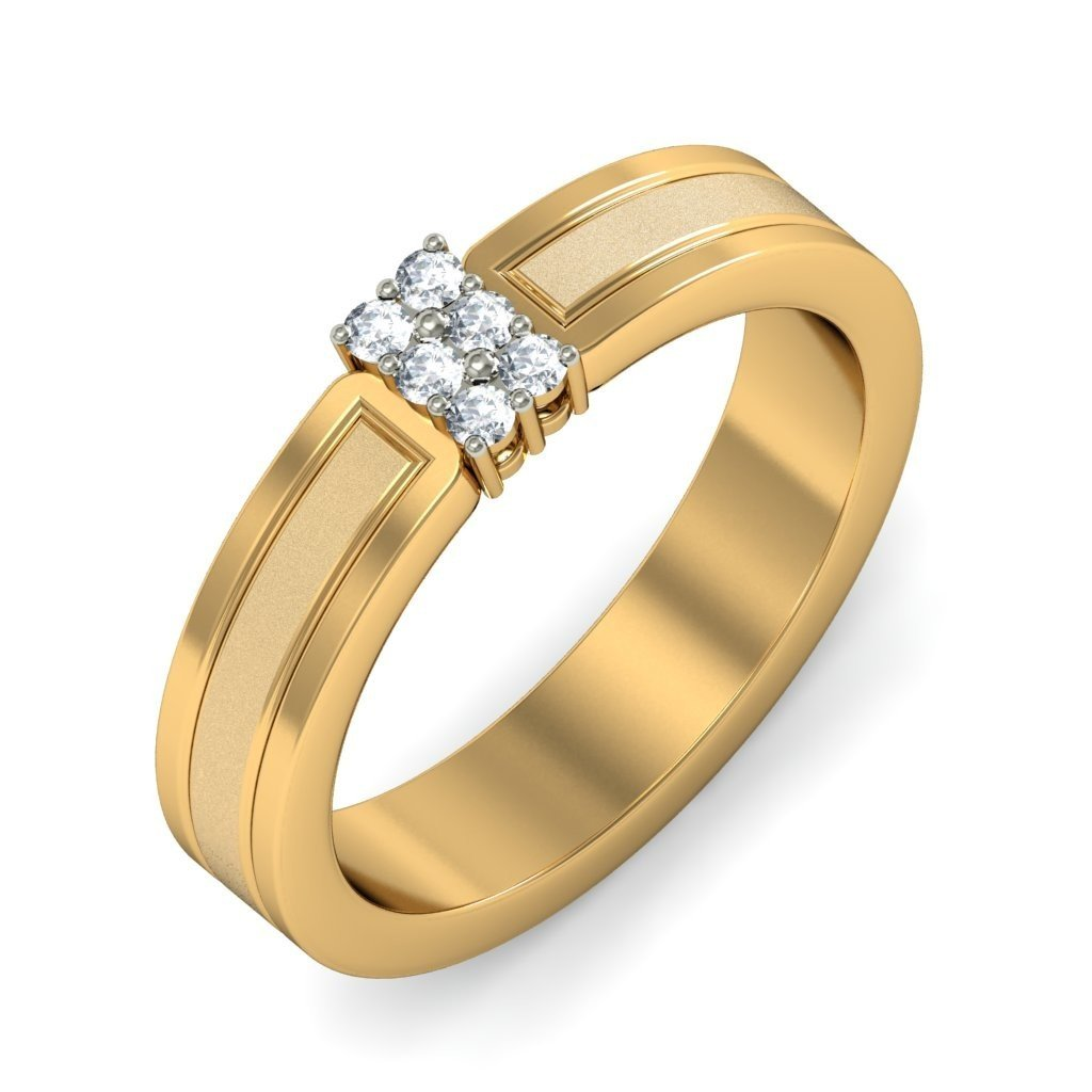 Certified 18K Yellow Gold (HallMarked), 0.09 cttw White Diamond (IJ | SI ) Diamond Engagement Wedding Ring Size - 11.5