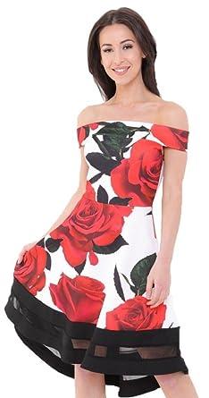 e9f36172355 FLIRTY WARDROBE Womens Rose Print Bardot Skater Dress Mesh Insert Boobtube  Ladies Floral Dresses Red Rose - White Black Contrast