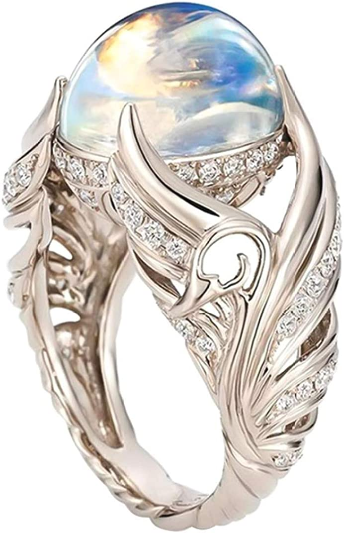 dfhdrtj Excelente Precioso 925 Anillo Plata de Ley Alas de Ángel Alianza Encantador Piedra Luna Diamante Joyería Informal Accesorio Compromiso Anillos