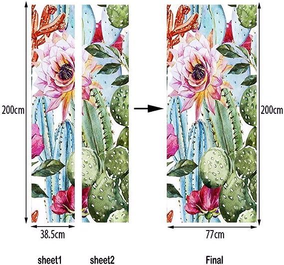 A.Monamour Stickers Muraux Aquarelle Mignonne Cactus Vert avec des Fleurs Motif Fond Blanc Vinyle Chambre Porte Stickers Papier Peint Peintures Murales Amovible Porte Autocollants