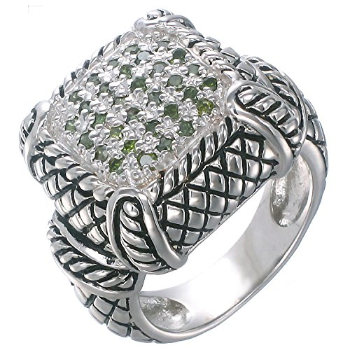 - Sterling Silver Green Diamond Ring Antique Look (0.45 CT) In Size 7