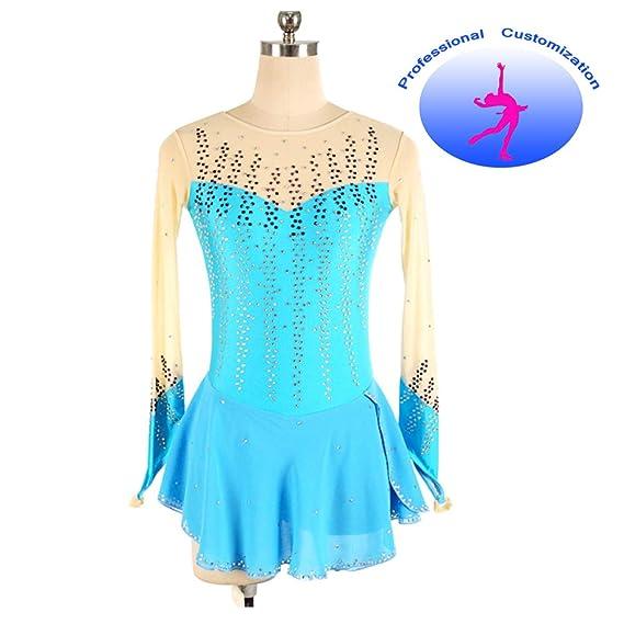 CUIXI Mädchen High-End-Kostüm Stretchy Strass Eislaufen Kleid ...