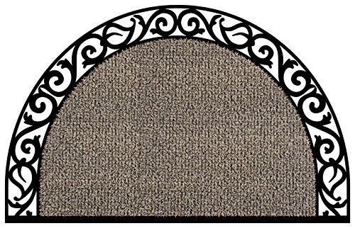 Grassworx 10374071 Wrought Iron Half Moon Plant Life Doormat, 24 x 36 Earth Taupe