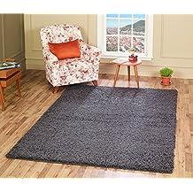 "A2Z Rug ( 120x170 cm (4ft x 5ft8"") Dark Grey ) Cozy Shag Collection Solid 5cm Pile Shag Rug Contemporary Living & Bedroom Soft Shaggy Area Rug, Carpet"