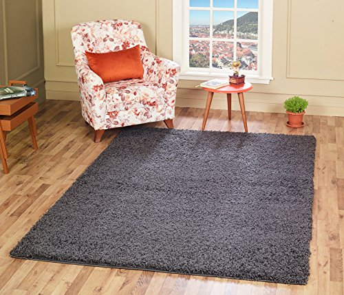 A2Z Rug Cozy Shaggy Collection 4x6-Feet Solid Area Rug - Graphite Gray