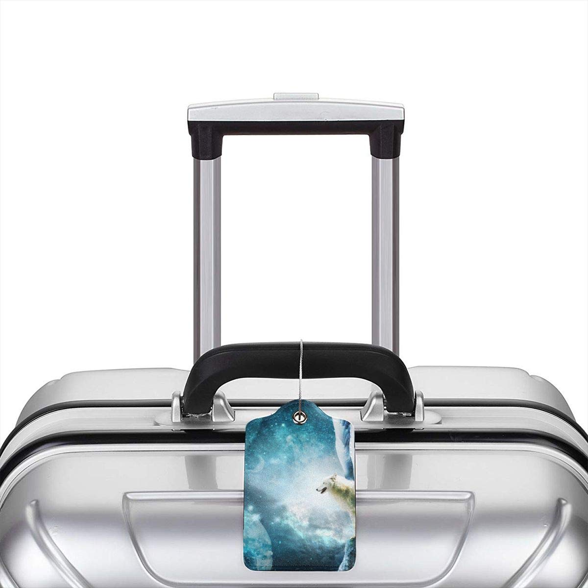 Wolf Galaxy Travel Luggage Tags With Full Privacy Cover Leather Case And Stainless Steel Loop