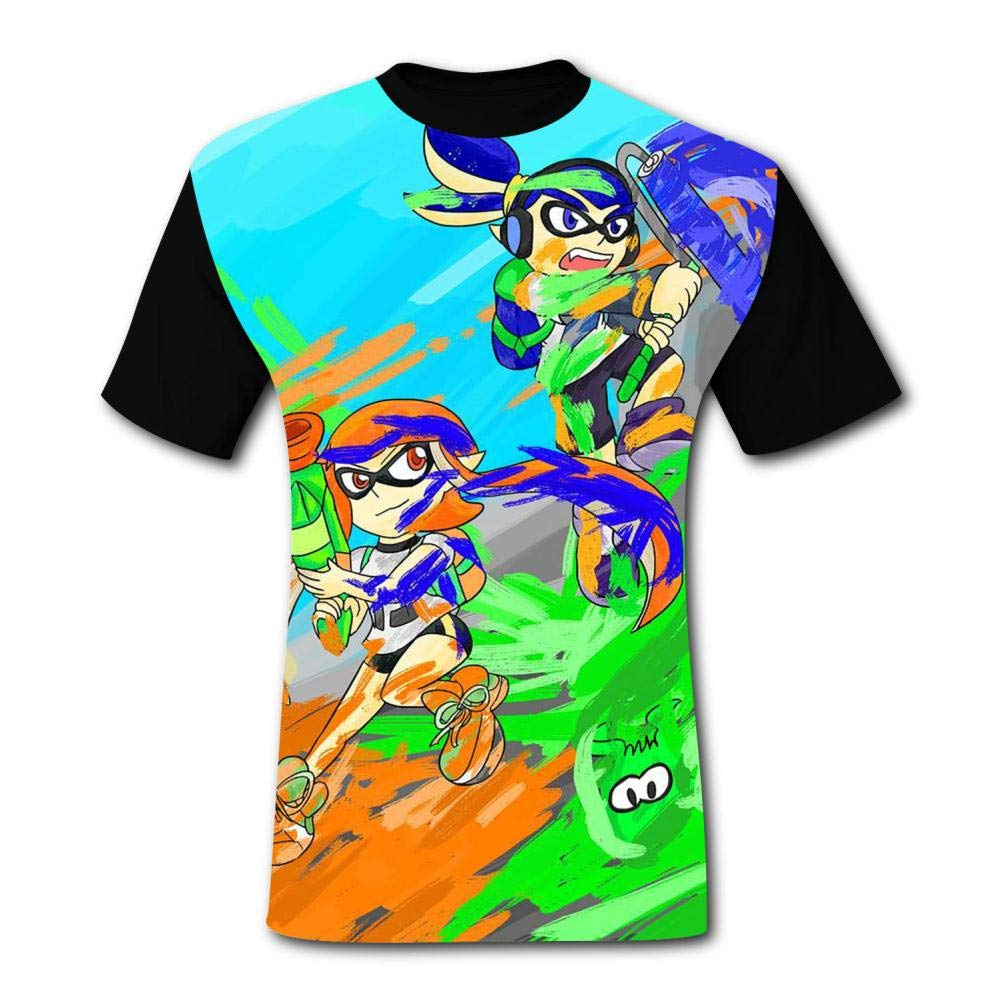 SHUANOM Splatoon Fashionable Mens and Womens All-Purpose t-Shirts Black
