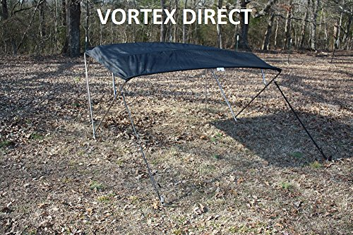 (NEW BLACK STAINLESS STEEL FRAME VORTEX 3 BOW PONTOON/DECK BOAT BIMINI TOP 6' LONG, 67-72