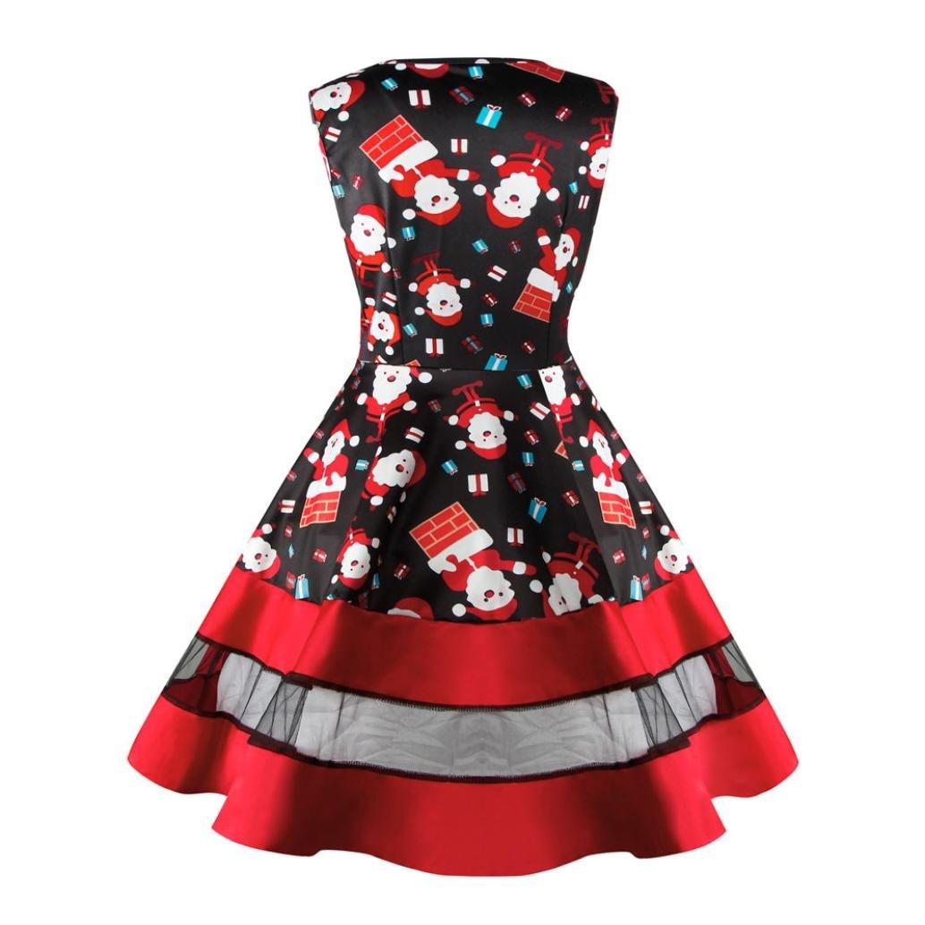 2bdaa4898bb1 Swing Kleid Damen Minikleid, Weihnachten Drucken Lange Frauen Kurze ...