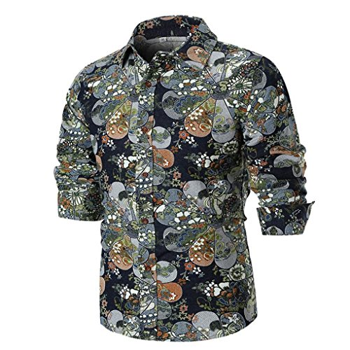 Sunhusing Men's Personality Design Slim Print Long Sleeve Shirt Top Leisure Blouse