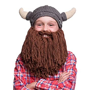 Beardo Kids Viking Knitted Beanie Hat with Beard (Horns Up)  Amazon.co.uk   Sports   Outdoors 51a4ec32075