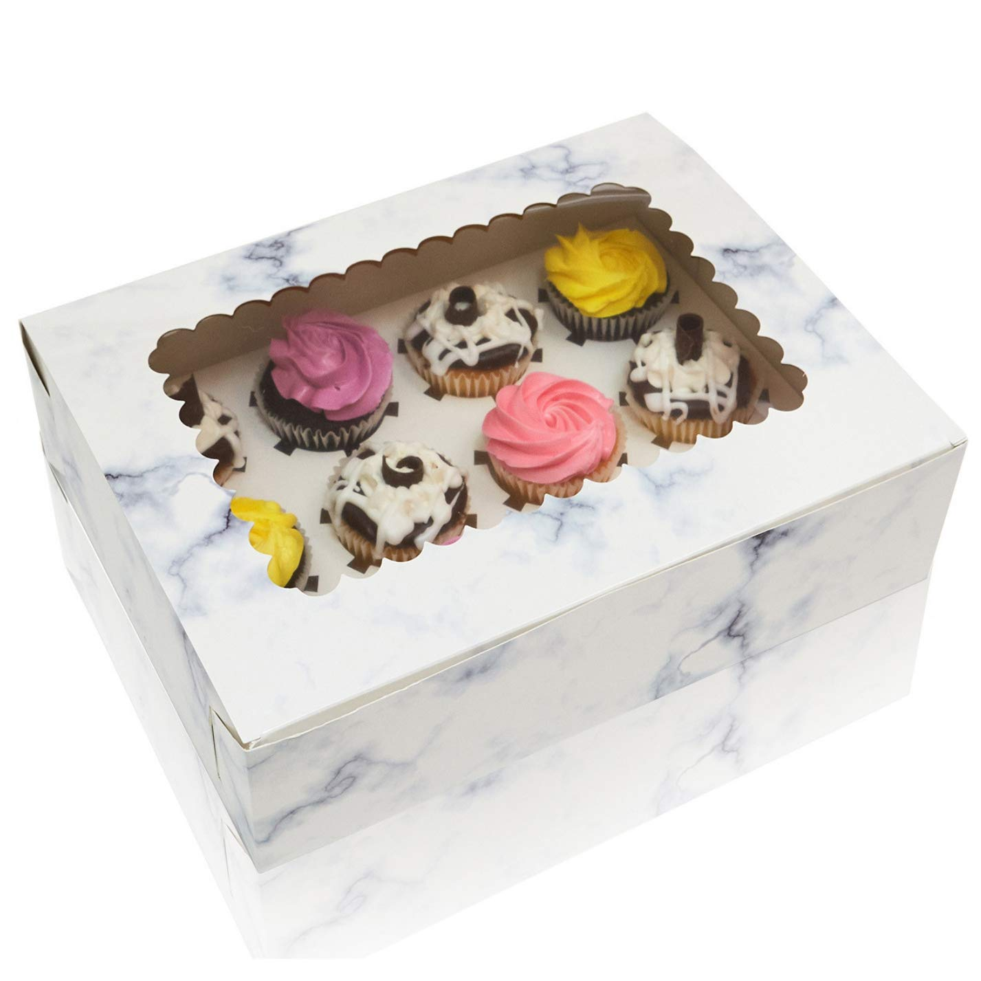 Cupcake Boxes With Window Display & Cup Cake Inserts For Cupcakes, Glossy Marble Design, Thick Sturdy Cupcake Box, Cupcake Box 12 pack For Birthdays, Weddings & Holidays