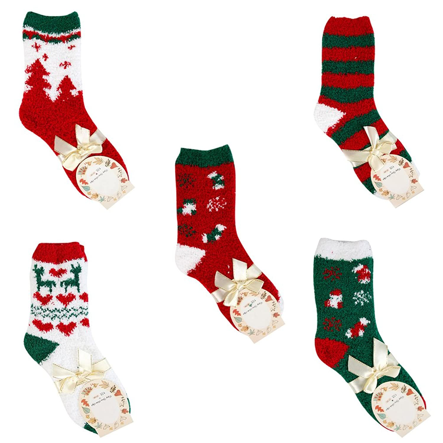 Lisli Fashion 5 Pairs Christmas Woman Men Soft Warm Winter Cozy Socks New Year Gift