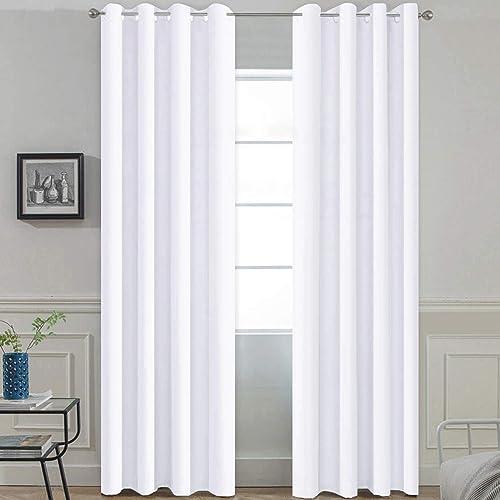 Yakamok Pure White Room Darkening Curtain Panels,Thermal Insulated Curtains
