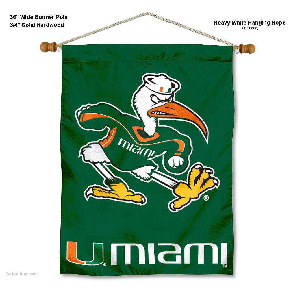 College Flags and Banners Co Miami Hurricanes Banner with Hanging Pole