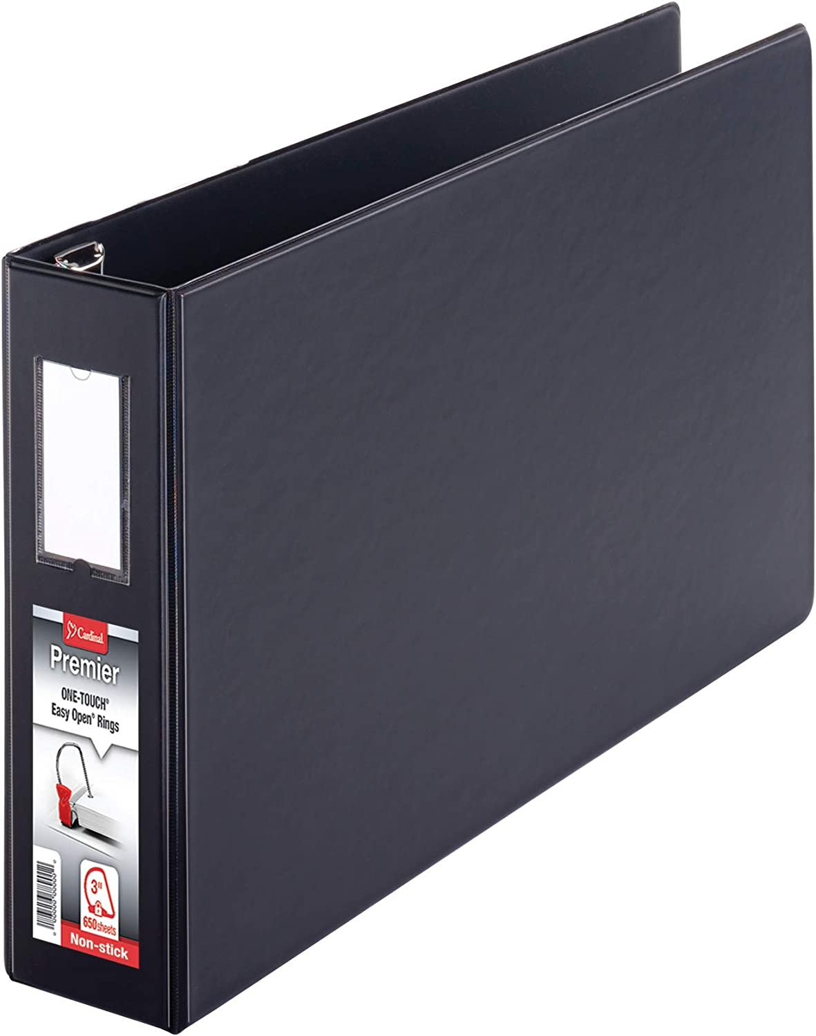 12142V4 Cardinal Premier 11 x 17 3-Ring Binder 3 Locking Slant-D Rings Black with Spine Label Heavy-Duty Covers 650-Sheet Capacity