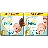 Prima Bebek Bezi Premium Care Yenidoğan Aylık Fırsat Paketi (1 Beden 120 adet+2 Beden116 adet)