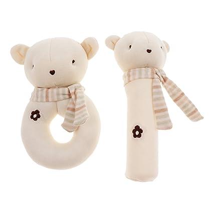 Prettyia Infants Kids Animal Soft Plush Baby Hand Bell Educational Doll Toy