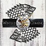 Game of Thrones - Vinyl Record Wall Clock - Stark House - Get unique living room wall decor - Gift ideas for adults, friends, men and women – Unique Art Design of Fantastic World