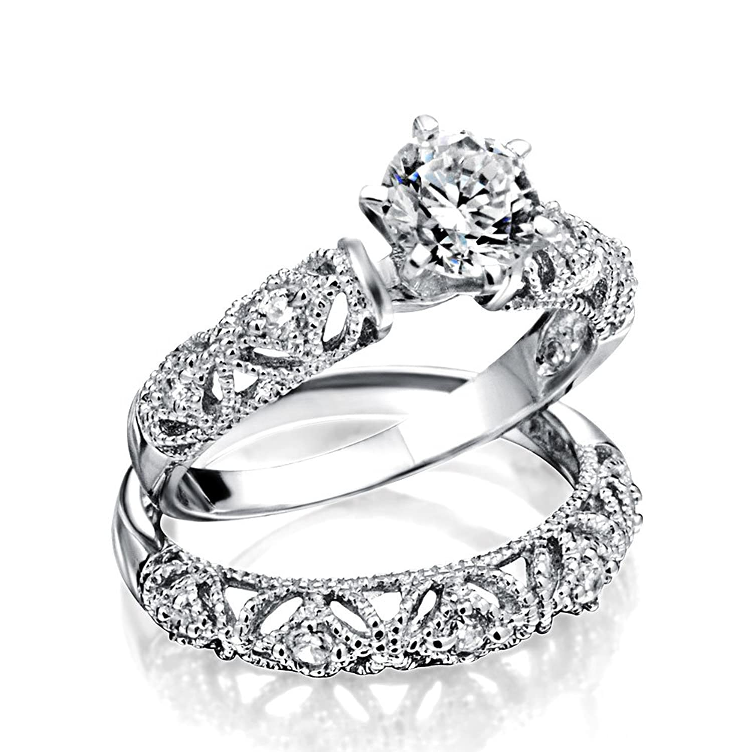 Amazon.com: Bling Jewelry Silver Vintage Style .75ct CZ Engagement Wedding  Ring Set: Jewelry