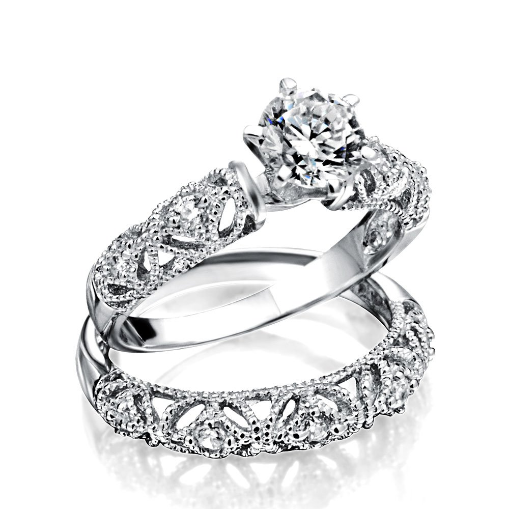 Bling Jewelry Silver Vintage Style .75ct CZ Engagement Wedding Ring Set,Clear,7