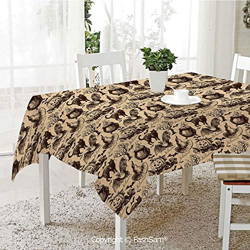AmaUncle Party Decorations Tablecloth Symbols of Halloween Witch Hat Cauldron Fall Jack O Lantern Black Cat Decorative Resistant Table Toppers (W60 -