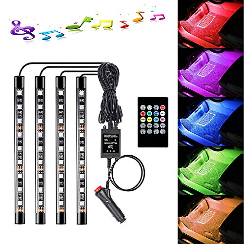Car Interior Lights 4pcs 36 LED DC 12V Car Floor Atmosphere Glow Neon lights Multicolor Music Car LED Strip Lights Underdash Lighting Kit with Sound Active function and Wireless Remote Control