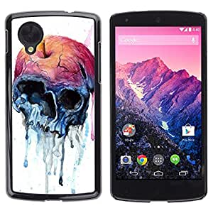 Ihec Tech Manzana de la acuarela del arte del cráneo de la muerte / Funda Case back Cover guard / for LG Nexus 5 D820 D821
