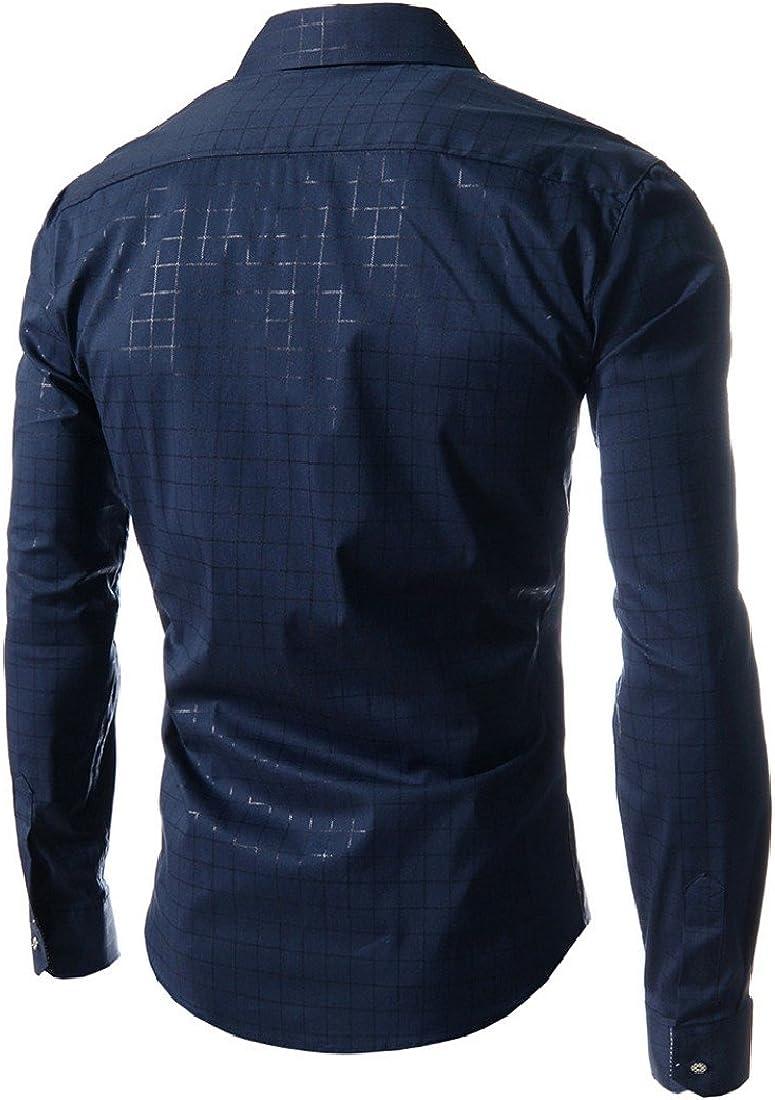 Abetteric Men Spring//Fall Plaid Bussiness Long-Sleeve Buttoned Dress Shirts
