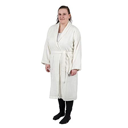 Homescapes Cream Adults Dressing Gown with Shawl Collar Luxury 100% Egyptian  Cotton Terry Towelling Unisex Bathrobe e76cb2146