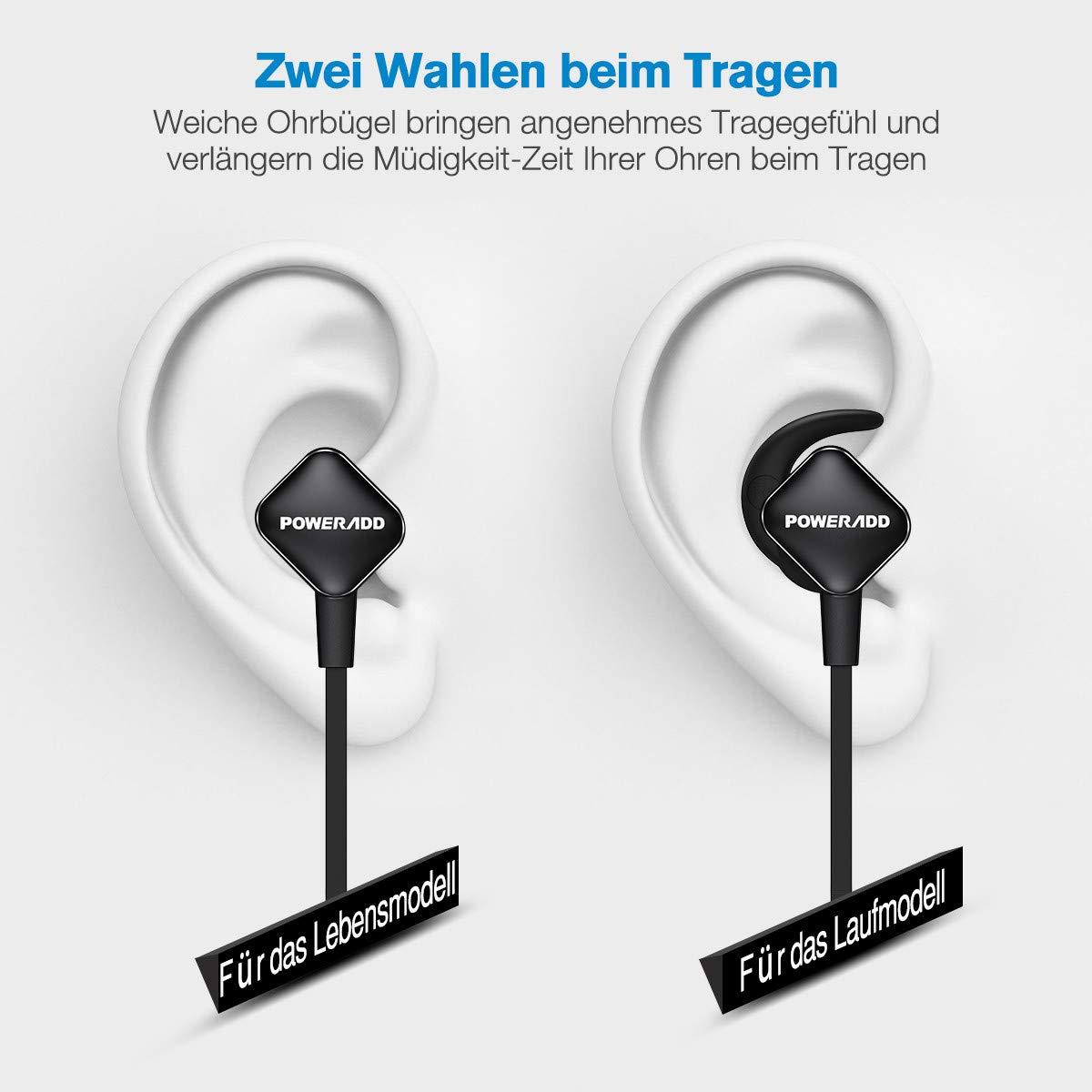 POWERADD Bluetooth Kopfhörer Sport Kopfhörer Bluetooth 4.1 leicht Wireless Ohrhörer wasserdicht IPX4 mit Mikrofron für iPhone, iPad, Samsung, Huawei, HTC und weiter Bluetooth-Gerät