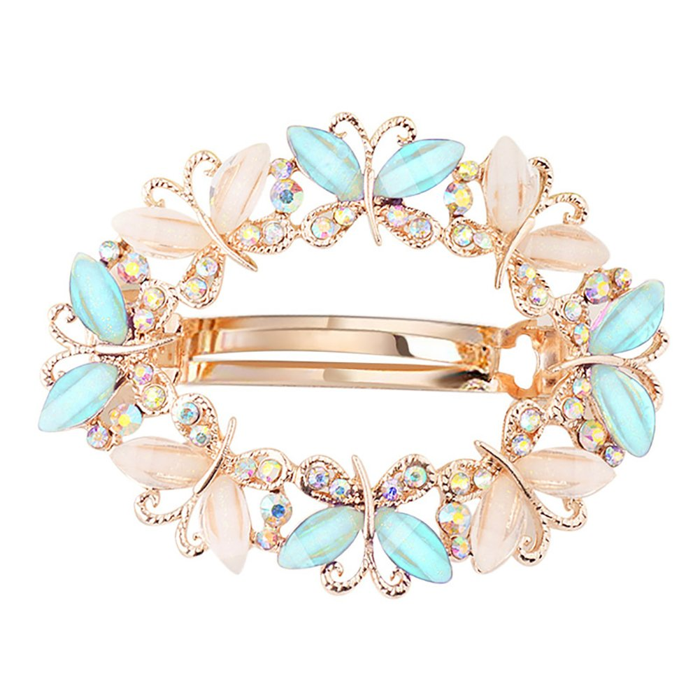 Catnew Fashion Women Girl Rhinestone Butterfly Leaves Hair Clip Barrette Jewelry Hairpin (Green)
