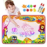 Aqua Doodle Pad, Baztoy Kids Toys Large Water Drawing Mat Toddlers Painting Board Magic Writing Mats with 6 Colors 2 Magic Pens and 1 Brush for Boys Girls Educational Gift Size 34.5 X 22.5 Inches