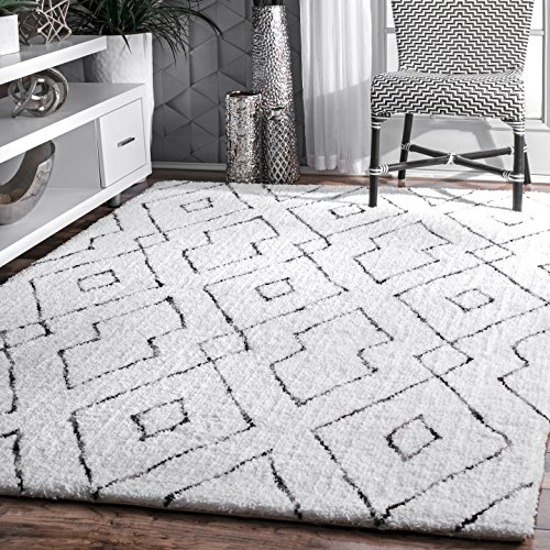 nuLOOM Lauren Lattice Shag Rug, 5' x 8', White (And Black Rug Living Room White)