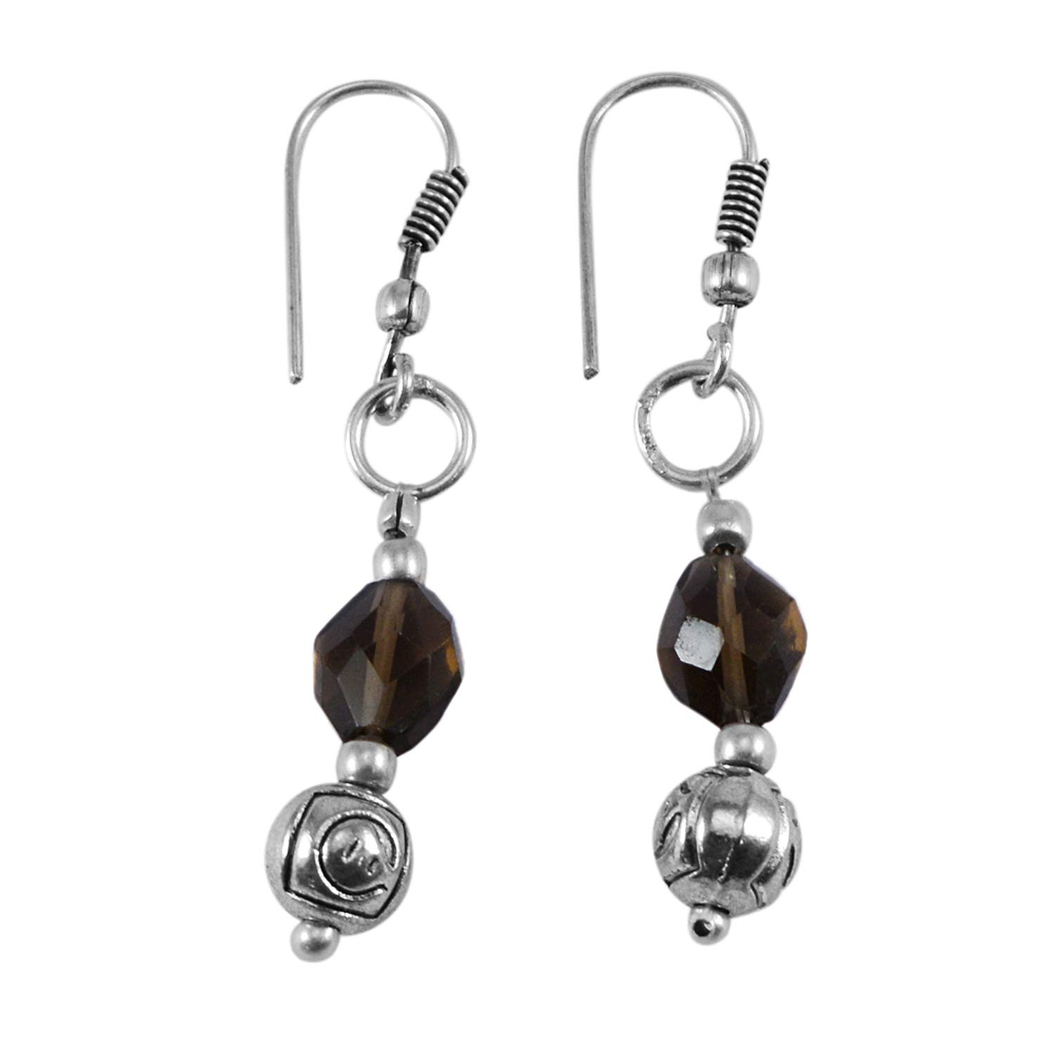 Saamarth Impex Smoky Quartz 925 Silver Plated Dangle Earring PG-132503