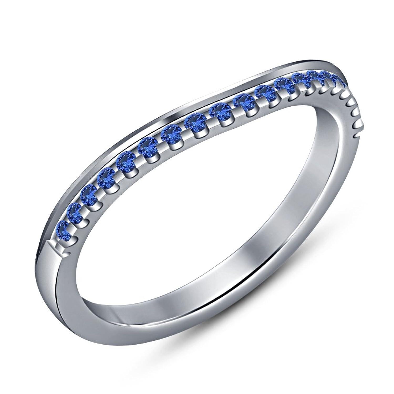 30c0ba68ca60 30% de descuento Lilu Jewels - Anillo de plata de ley 925 con zafiro azul