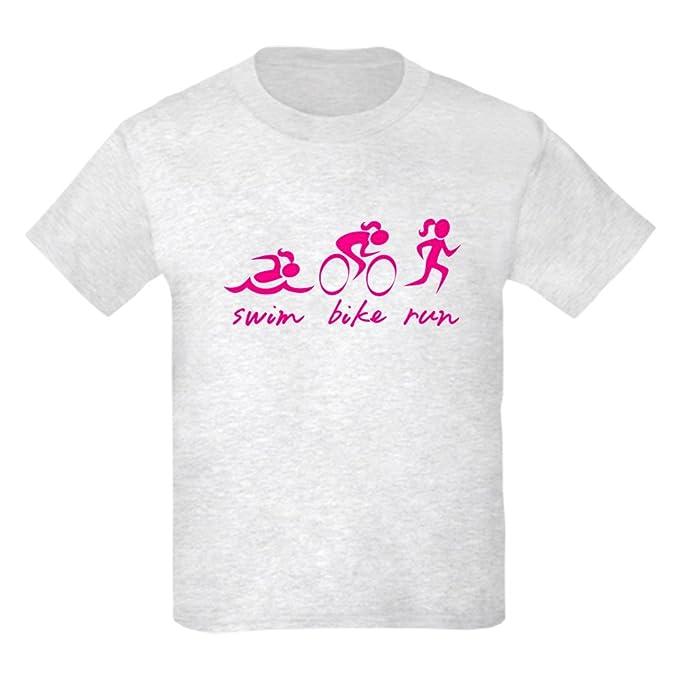1f6fcf99450 Amazon.com  CafePress - Swim Bike Run (Girl) T-Shirt - Kids Cotton T ...