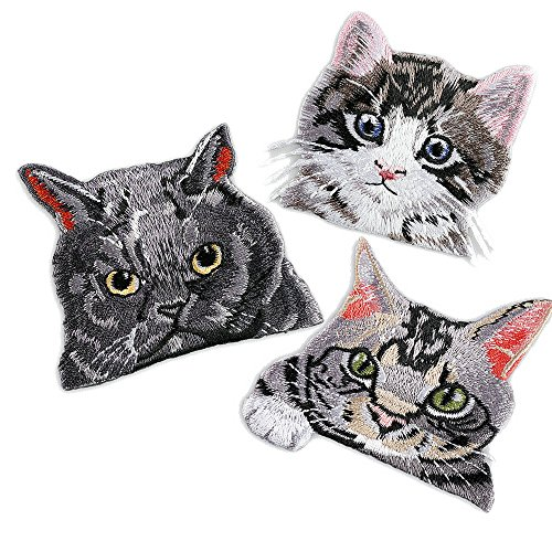 3 Pcs Cat Patches For Clothing Iron Embroidered Patch Applique Iron on Patches Accessories Badge Stickers on Clothes Jeans Bags