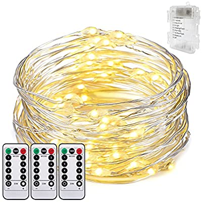 Battery Operated String Lights,Oak Leaf 9.8ft 60 LEDs Waterproof Silver Wire Rope Lights String Lights for Party,Home,Bedroom,Tree,Warm White