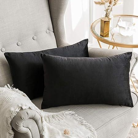 MIULEE Confezione da 2 Federe in Velluto Copricuscini Decorativi Fodere  Quadrate per Cuscino per Divano Camera da Letto Casa Auto 30X50cm Nero