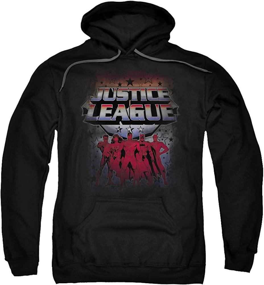 Trevco JLA-Star League Adult Pull-Over Hoodie44; Black Large