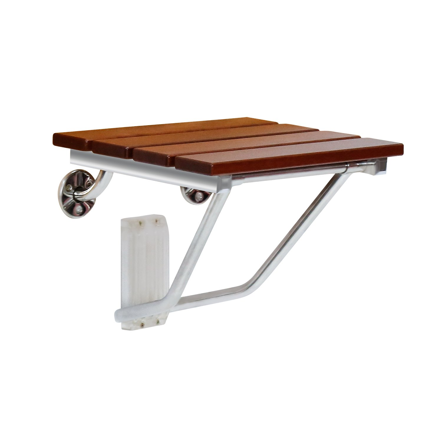 Kinbor Folding Bath Seat Bench Shower Chair Wall Mount Solid Wood Construction