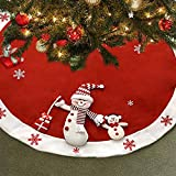 "Elegant Red Christmas Tree Skirt 45"" Plush Snowman with White Snowflakes Border by Gift Boutique"