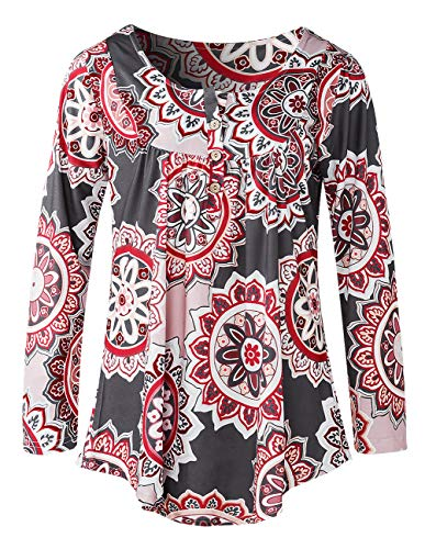- Women Swing Tunic Floral Printing Graphic Plain Solid Color Blouse Tops V Neck Ruffle Flattering Shirt