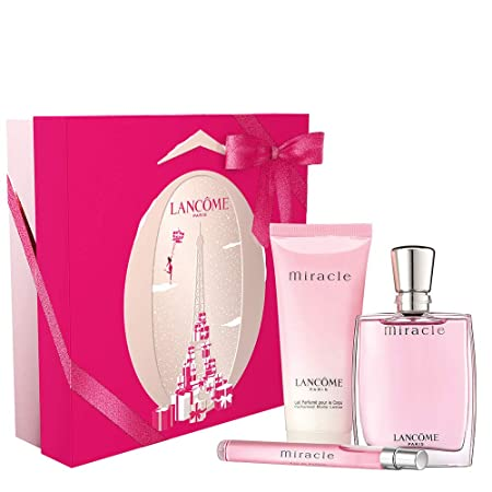Lancome Miracle Moments 3-Piece Gift Set For Women 1.7 Oz Eau De Parfum Spray 3.4 Oz Perfumed Body Lotion 0.34 Oz Travel Spray